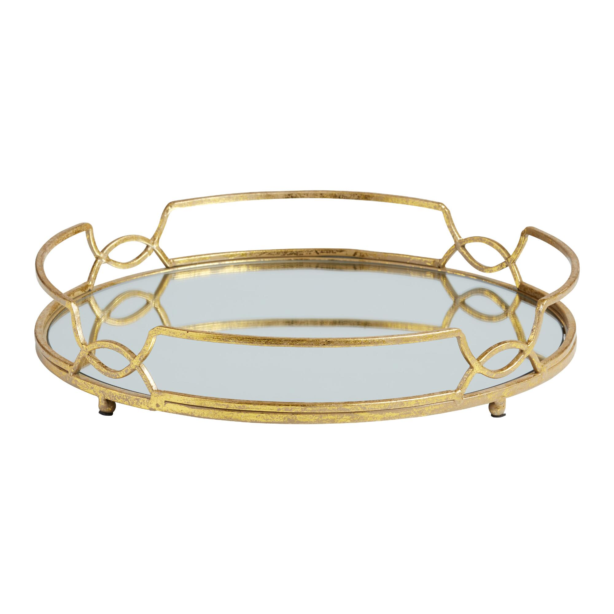 Coffee Table Tray Gold: Olive Lane: Obsessed: Gold Mirrored Tray