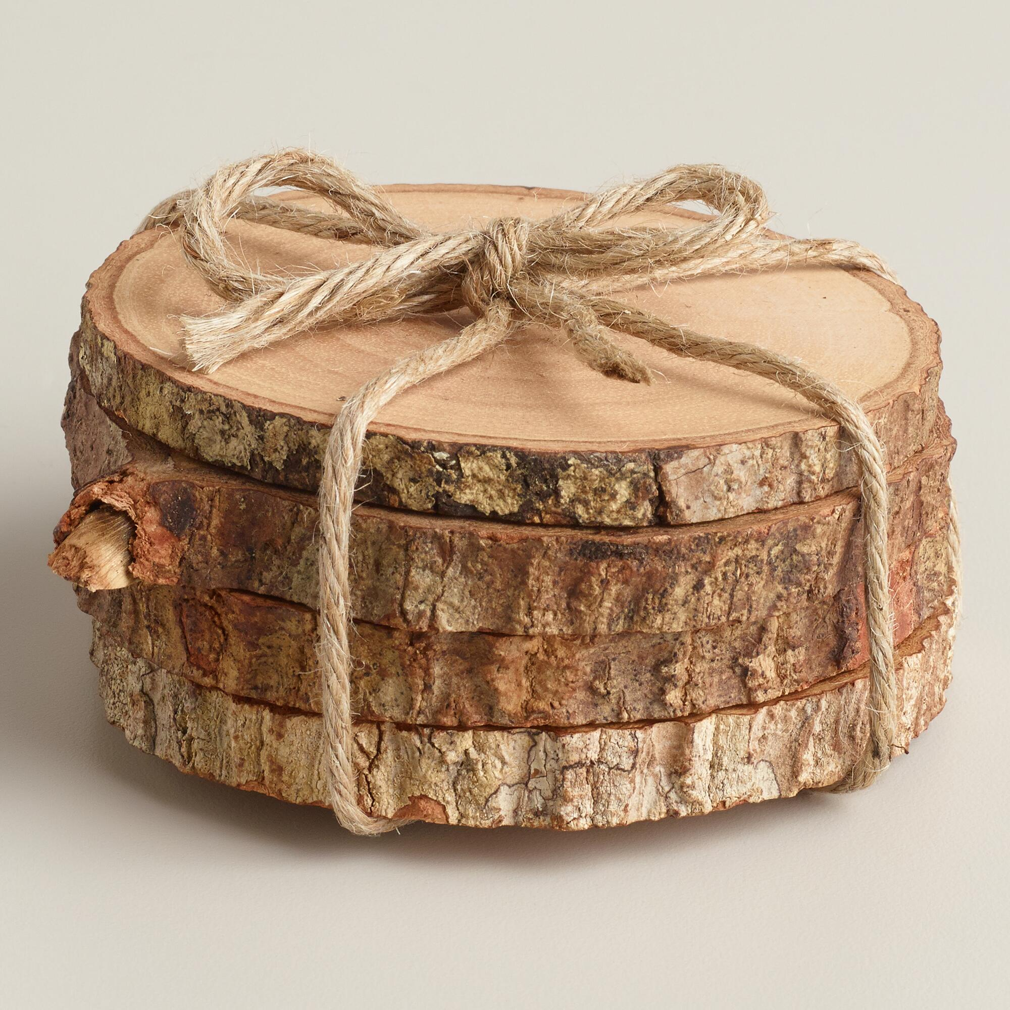 Wood Bark Coasters Set Of 4 World Market