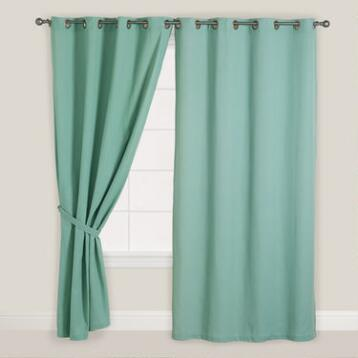 Blue Surf Bori Cotton Grommet Top Curtain