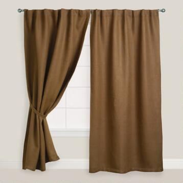 Brown Herringbone Jute Sleevetop Curtain