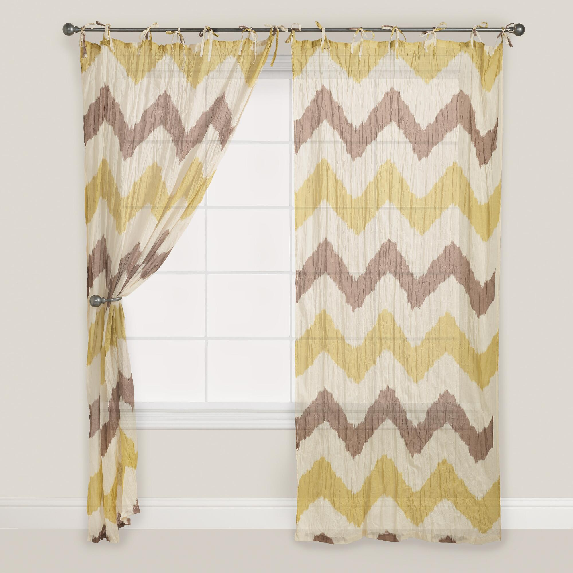 Kitchen Curtains Yellow And Gray: Chevron Crinkle Voile Curtain