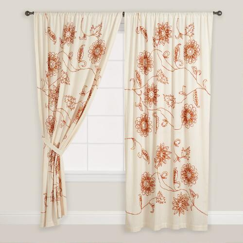 Embroidered Floral Cotton Curtains, Set of 2