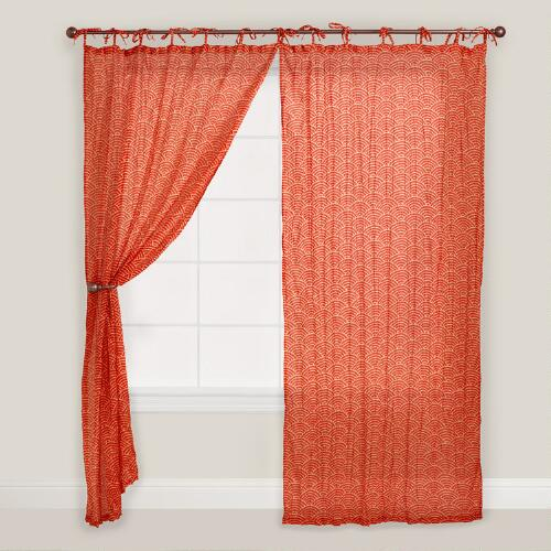 Rust Japanese Wave Print Curtain