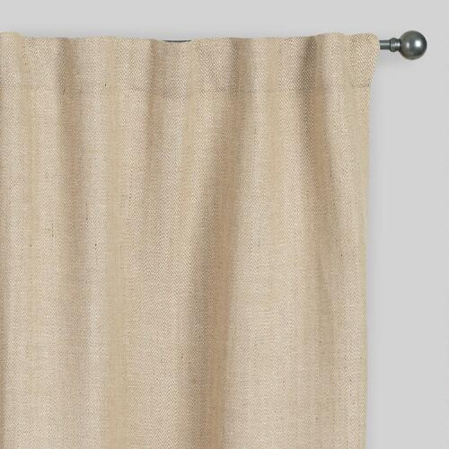 Natural Herringbone Jute Sleevetop Curtain