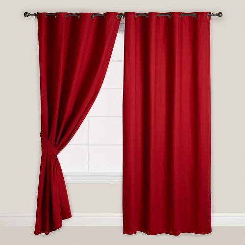 Red Parker Grommet Top Curtain