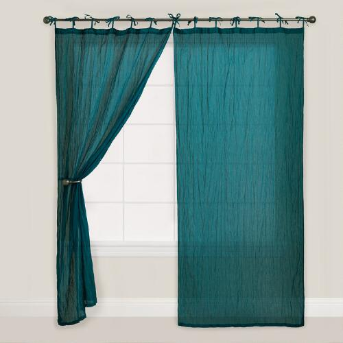 Teal Crinkle Voile Curtain