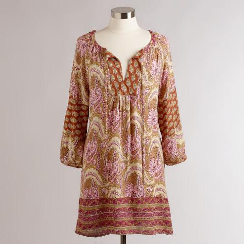 Long Rust Paisley Malaya Tunic
