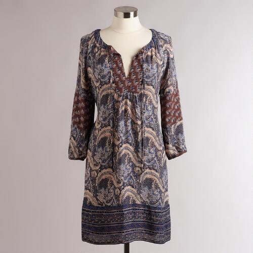 Long Blue Paisley Malaya Tunic
