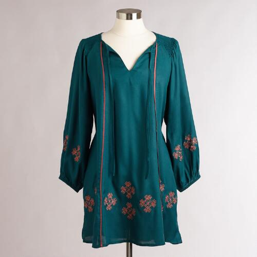 Green Embroidered Kimbra Dress