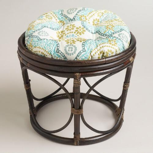 White Mosaic Papasan Stool Cushion