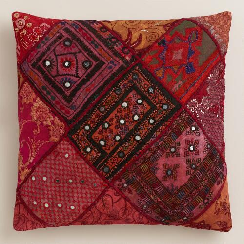 Red Sari Patchwork Throw Pillow