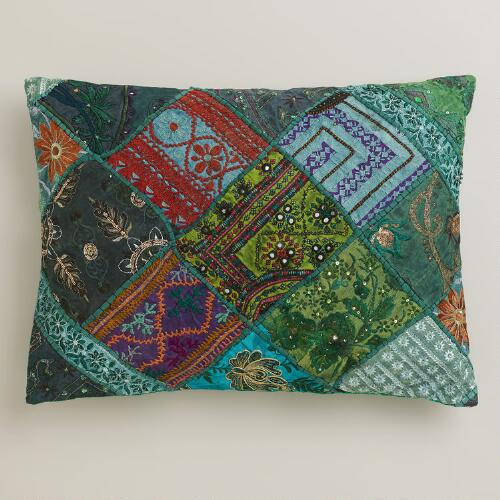 Green Sari Patchwork Lumbar Pillow