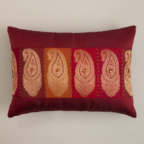 Red Paisley Lumbar Pillow