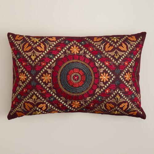 Red Mosaic Lumbar Pillow