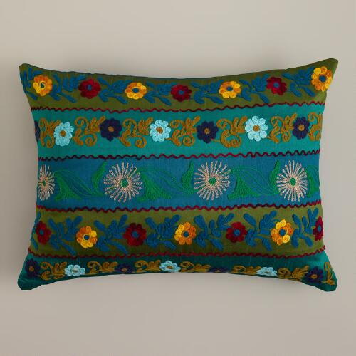 Teal Stripe Boho Lumbar Pillow
