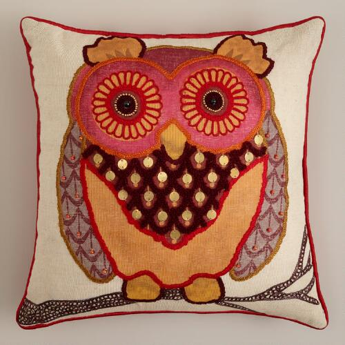 Rust Owl Throw Pillow