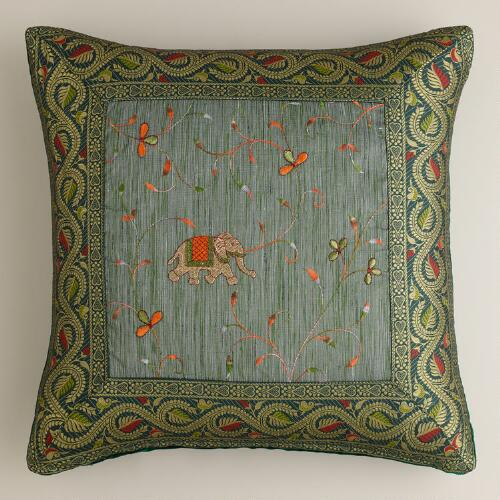 Teal Elephant Sari Pillow