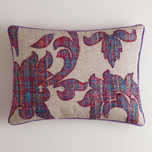 Purple Tweed Recycled Sari Lumbar Pillow