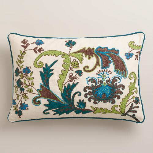 Teal and Calla Green Scottish Mist Lumbar Pillow