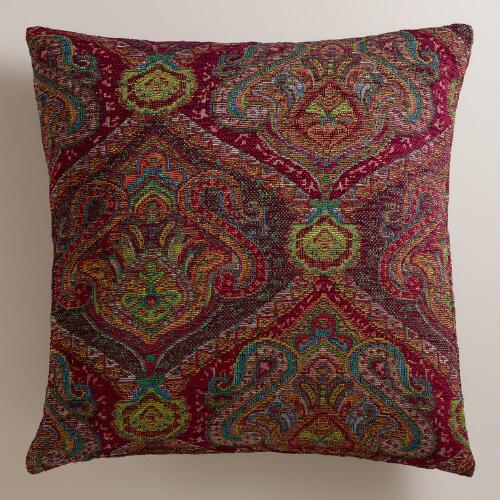 Wine Jacquard Glasgow Throw Pillow