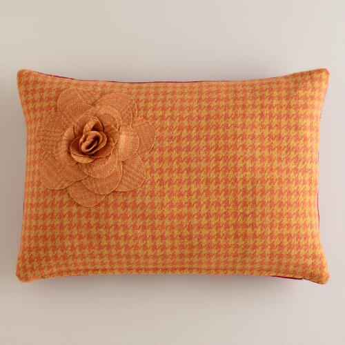 Yellow Flower Wool Lumbar Pillow