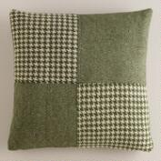 Green Patchwork Wool Throw Pillow