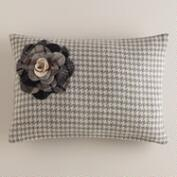 Gray Flower Wool Lumbar Pillow