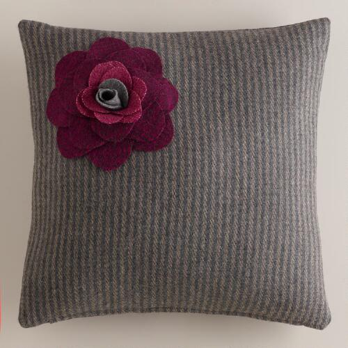 Gray Flower Wool Throw Pillow