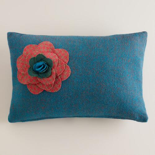 Blue Flower Wool Lumbar Pillow