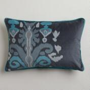 Blue Ikat Velvet Dori Lumbar Pillow