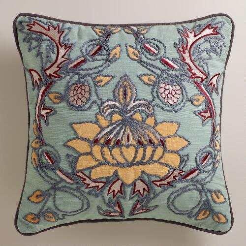 Aqua and Gold Bulb Throw Pillow
