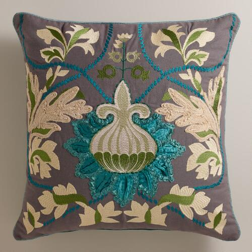 Teal Bulb Throw Pillow