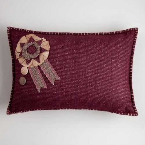Flower Badge Wool Lumbar Pillow