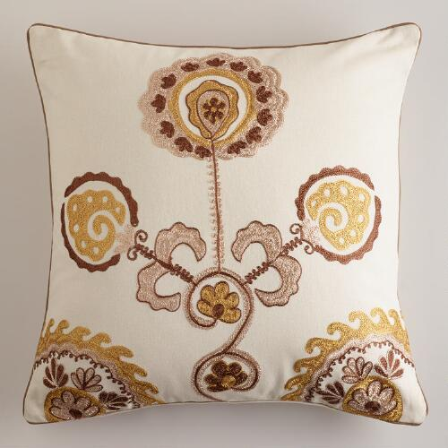 Gold Embroidered Flower Throw Pillow