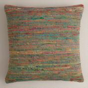 Blue Surf Recycled Sari Throw Pillow