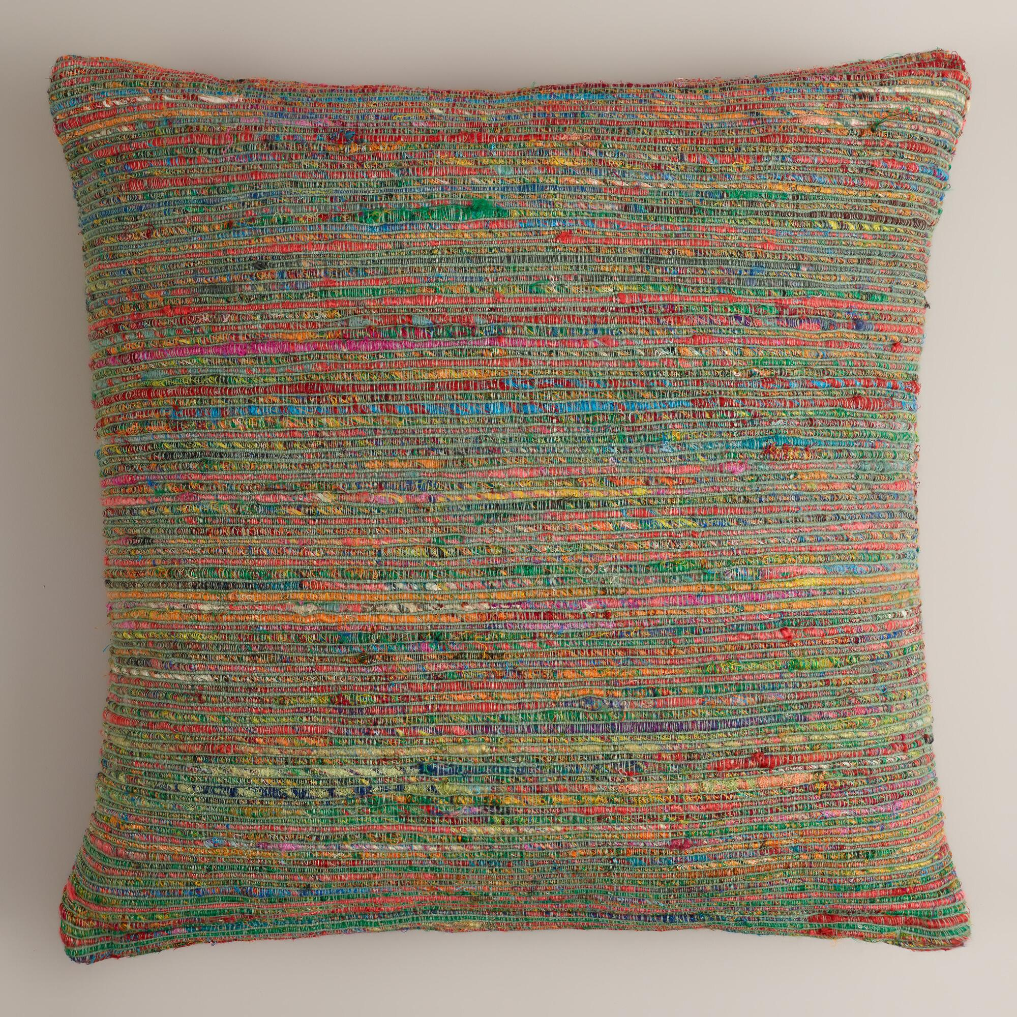 Recycle Or Throw Away Pillows : Blue Surf Recycled Sari Throw Pillow World Market