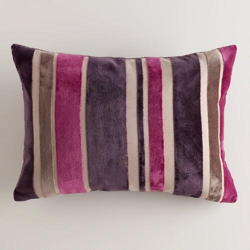 Fig and Coconut Stripe Velvet Lumbar Pillow