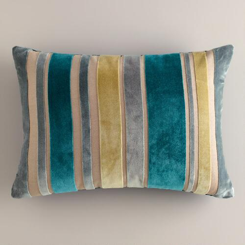 Green and Gray Stripe Velvet Lumbar Pillow