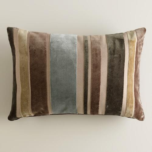 Earth Stripe Velvet Lumbar Pillow