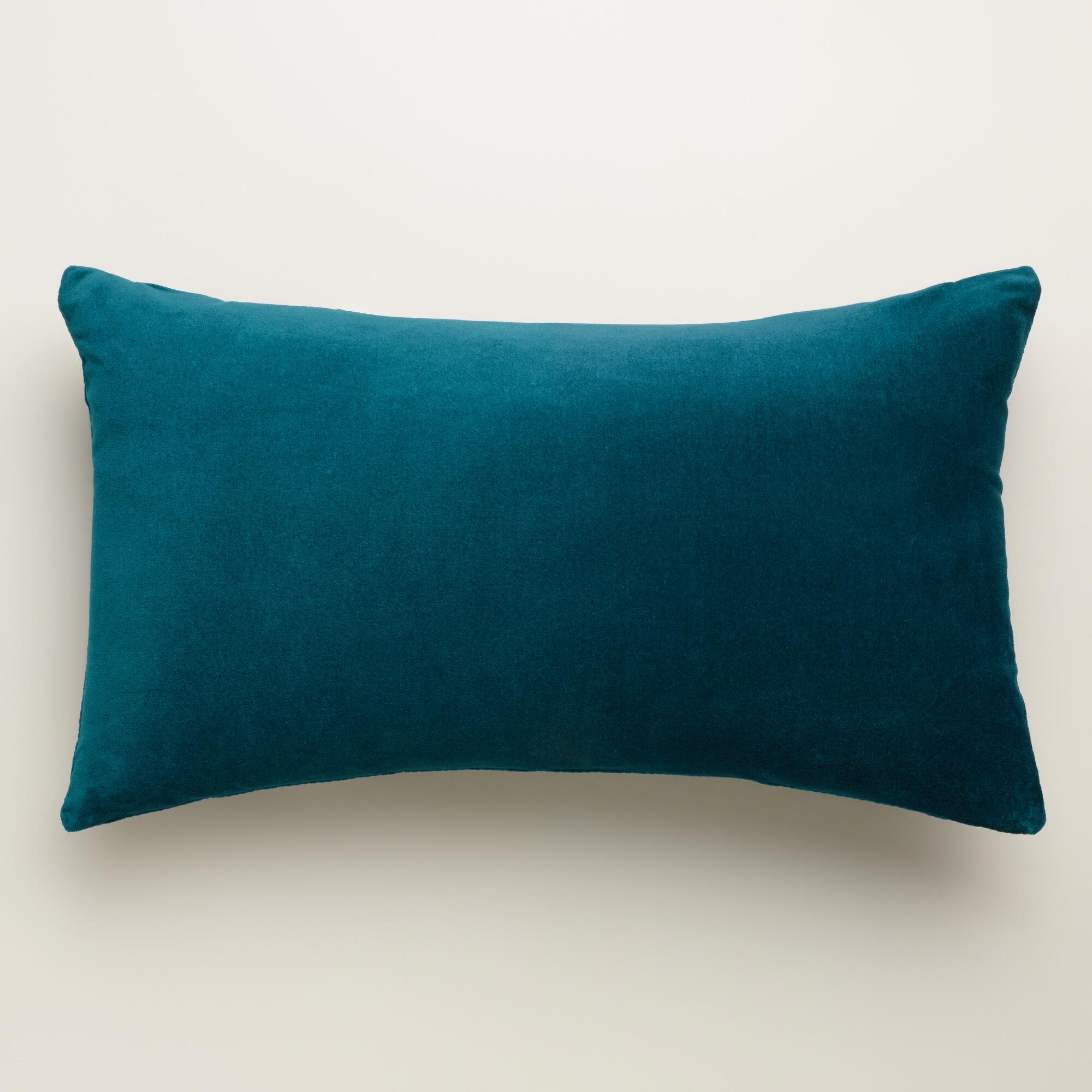 Teal Velvet Lumbar Pillow World Market