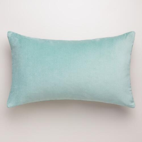 Blue Surf Velvet Lumbar Pillow
