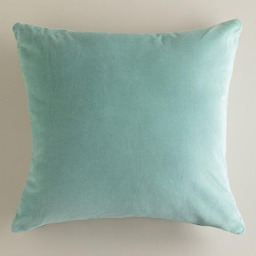 Blue Surf Velvet Throw Pillows