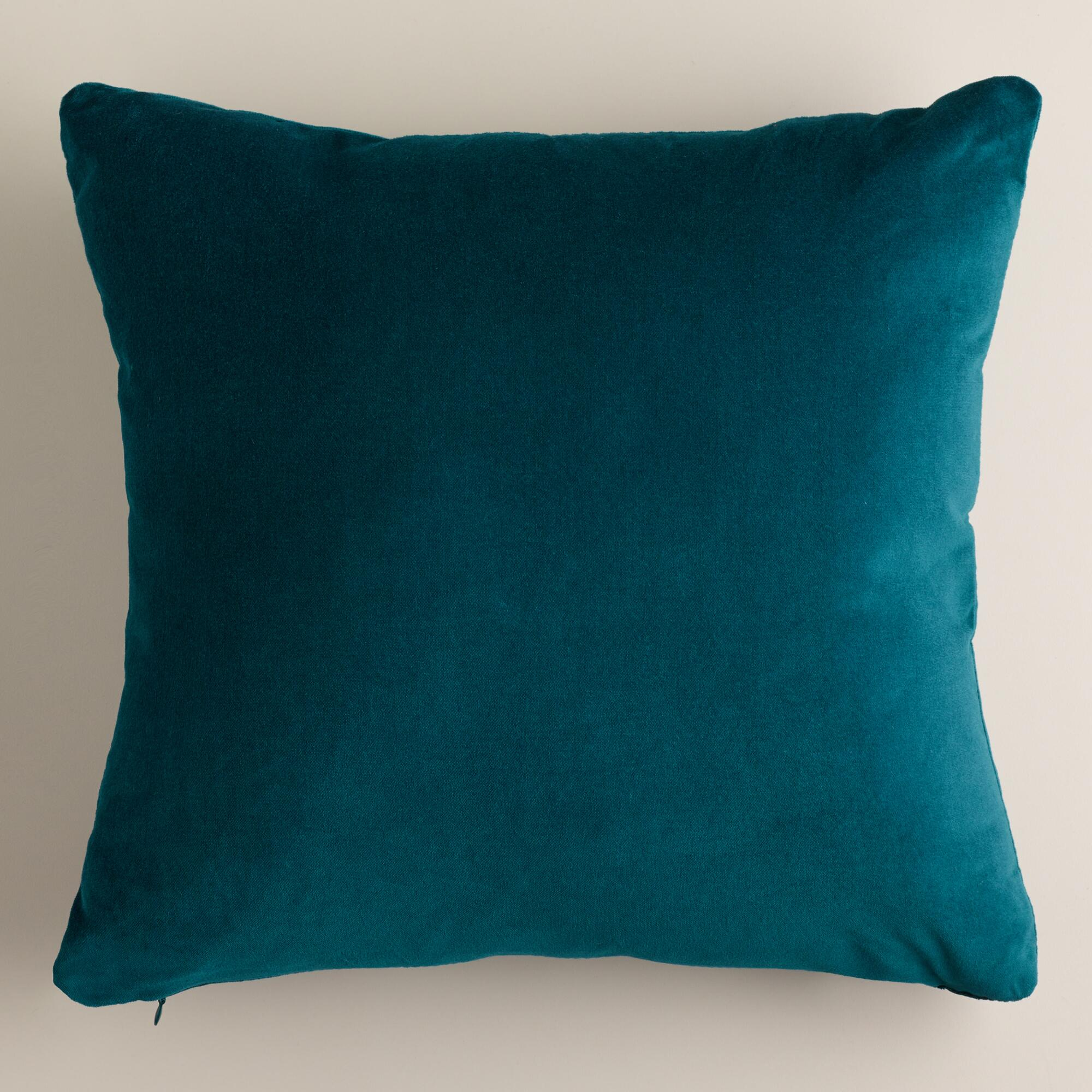 Decorative Pillows With Teal : Teal Velvet Throw Pillows World Market