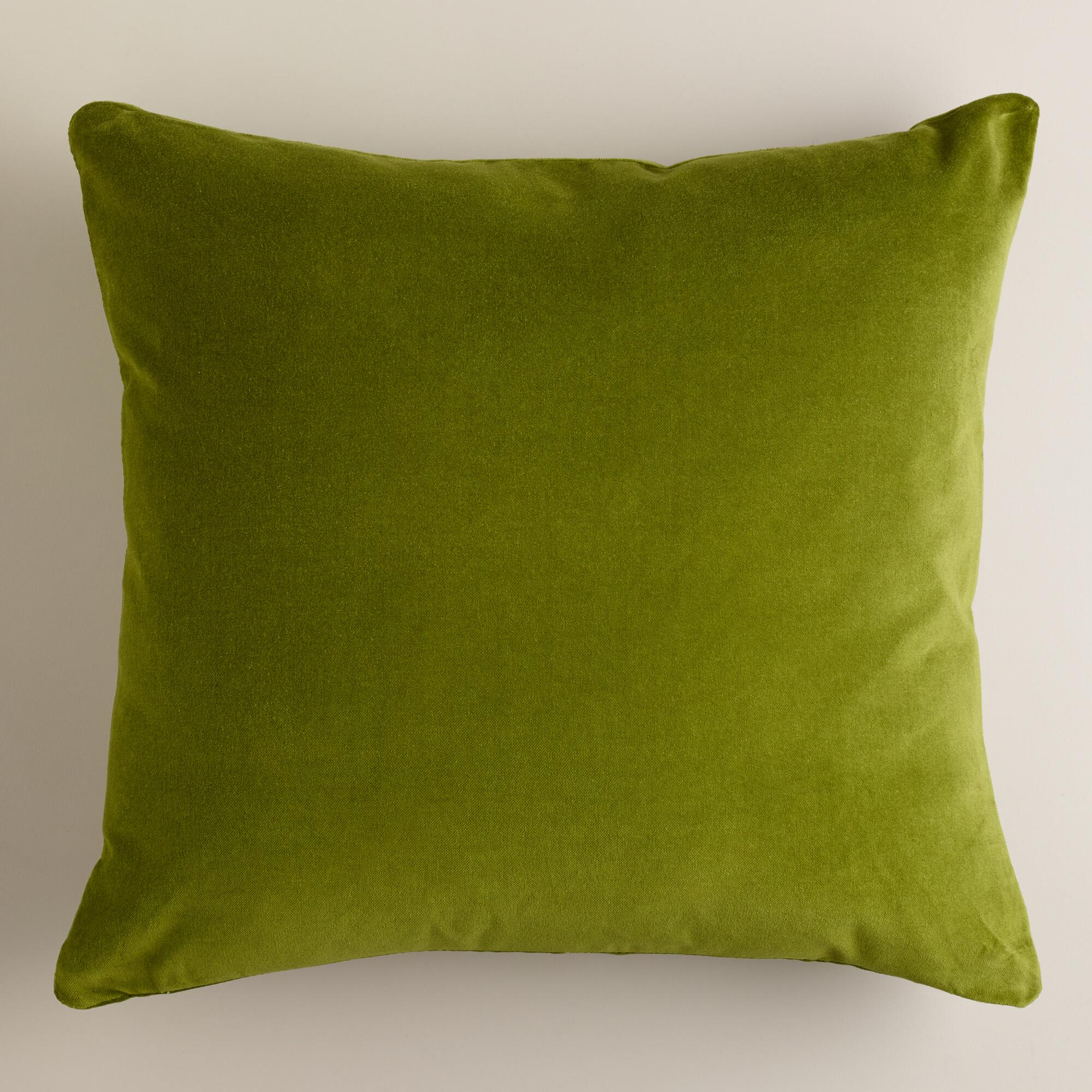 Decorative Pillows With Green : Calla Green Velvet Throw Pillows World Market
