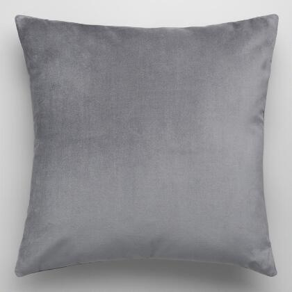 Tornado Gray Velvet Throw Pillow