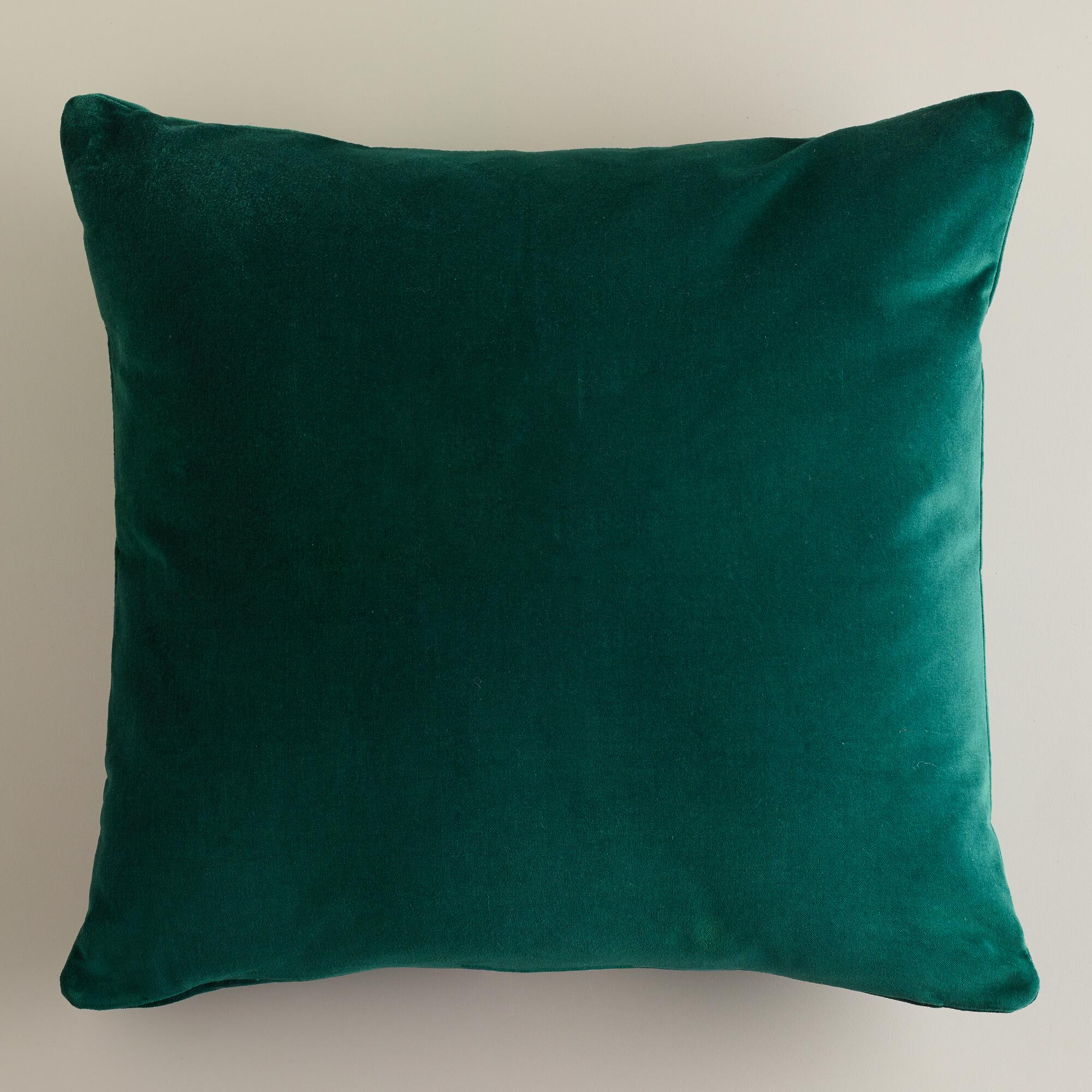 Decorative Pillows For Bed Green : Dark Green Velvet Throw Pillows World Market