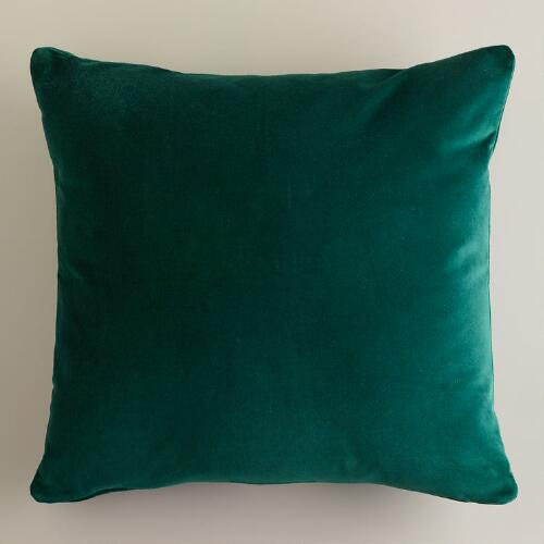 Dark Green Velvet Throw Pillows