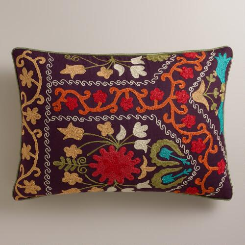 Purple Suzani Lumbar Pillow