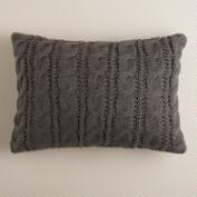Dark Gray Hand-Knit Lumbar Pillow