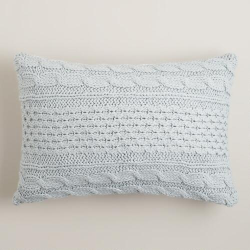 Light Blue Hand-Knit Lumbar Pillow